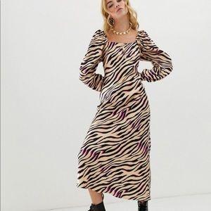 ASOS Zebra Print Bias Cut Maxi Dress Satin Grunge